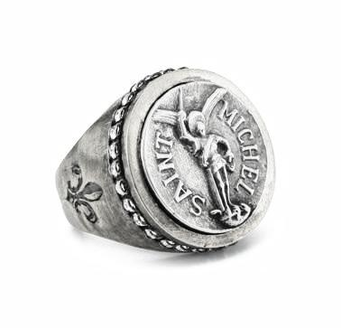 French Kande  Signet Ring with mini Saint Michael Silver