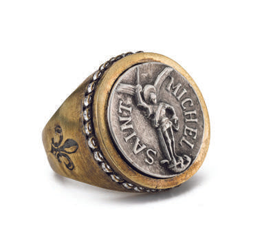 French Kande  Signet Ring with Mini Saint Michael