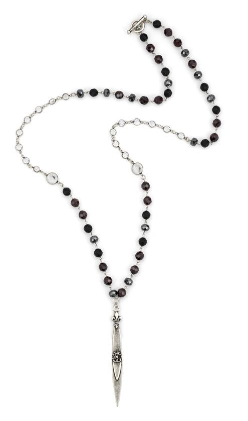 French Kande Notre Dame Pointu Pendant Necklace in Night Tide