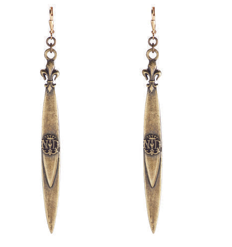 French Kande Notre Dame Pointu Pendant Earrings Gold