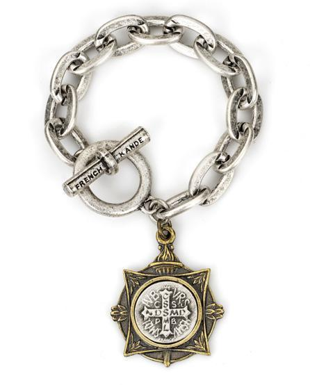 French Kande Lourdes Chain and Petite Saint Benedict Medallion Bracelet