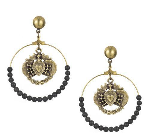 French Kande Immaculate Heart Hoops with Black Jasper Earrings Gold
