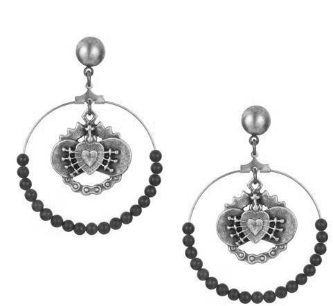 French Kande Immaculate Heart Hoops with Black Jasper Earrings Silver