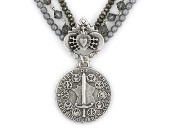 French Kande Triple Strand Black Diamond with Immaculate Heart and Du Terre Medallion Necklace