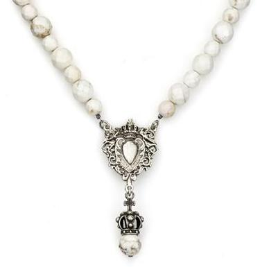 French Kande White Turquoise Heart Fob and Crown Pendant in White Turquoise Necklace 18""