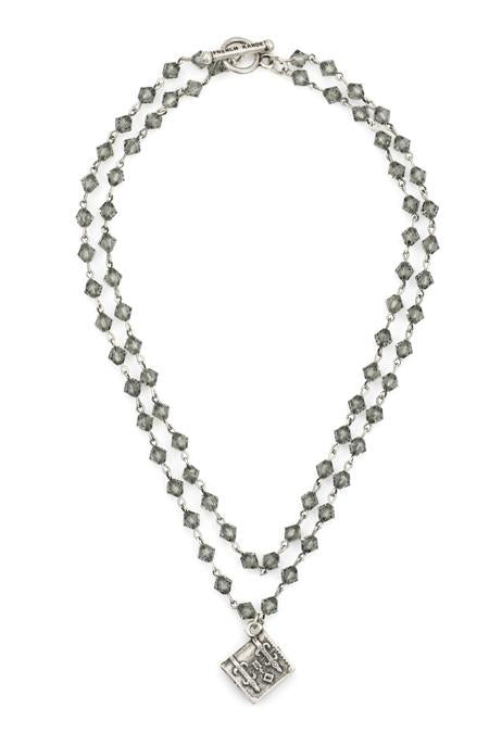 French Kande Double Strand Black Diamond Swarovksi with Silver Wire and Tronc Medallion