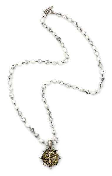 French Kande Saint Benedict Medallion Howlite Necklace Silver 36""