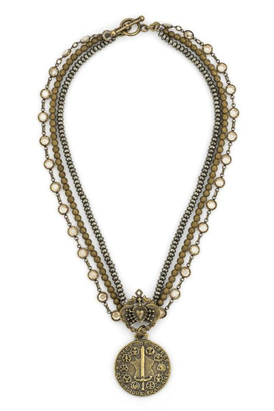 French Kande Triple Strand Black Diamond with Immaculate Heart and Du Terre Medallion Necklace Gold