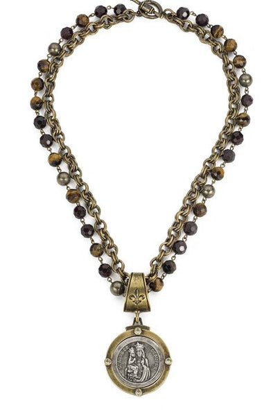 French Kande Saint Anne Medallion in Tiger Eye & Provence Chain in Gold