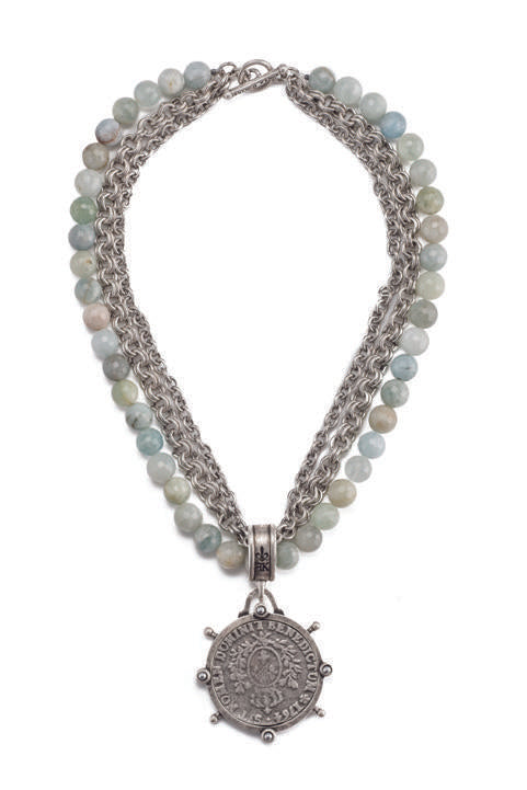 "French Kande  Aquamarine with Double Cable Chains  Domini ""Blessed Be"" Medallion Necklace 17"""