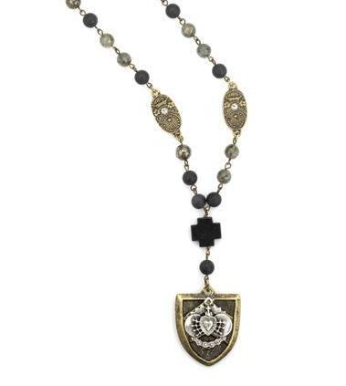French Kande Midnight Mix Cheval with Sacred Heart Necklace 42""
