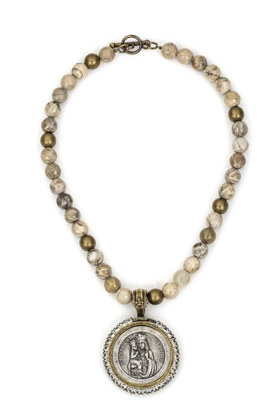 French Kande Saint Anne Medallion Necklace in Cafe Au Lait Mix with Swarovski Crystals in Gold