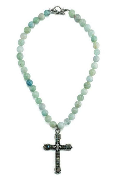 French Kande Fleur de Lis Cross Channel Necklace in Aquamarine