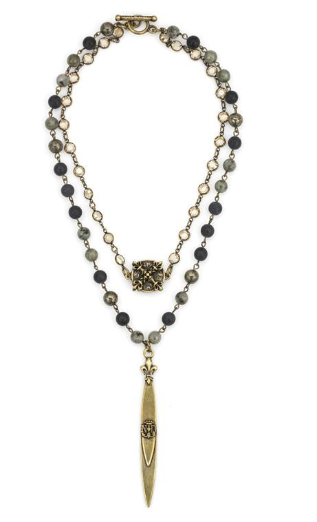 French Kande Double Strand Midnight Mix Notre Dame Pointu Pendant Necklace