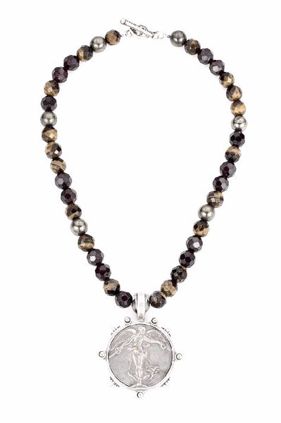 French Kande Victory Angel Medallion in Tiger's Eye Mix Necklace Silver