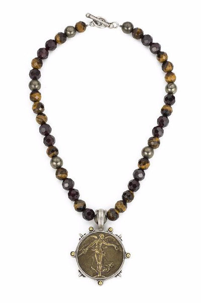 French Kande Victory Angel Medallion in Tiger's Eye Necklace in Gold