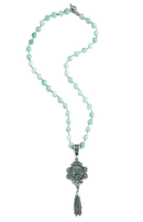 French Kande Faceted Dupuis Medallion with Tassel Aquamarine 28""