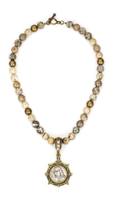 French Kande Cafe au Lait Mix Petite Joan Medallion Necklace 17""