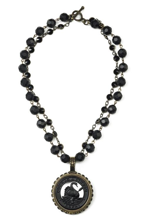 French Kande Double Strand Faceted Black Onyx with Pineau Medallion Necklace