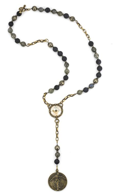 French Kande  L'Ange Victory Angel Midnight Mix Necklace with Pyrite Cabochon 26""