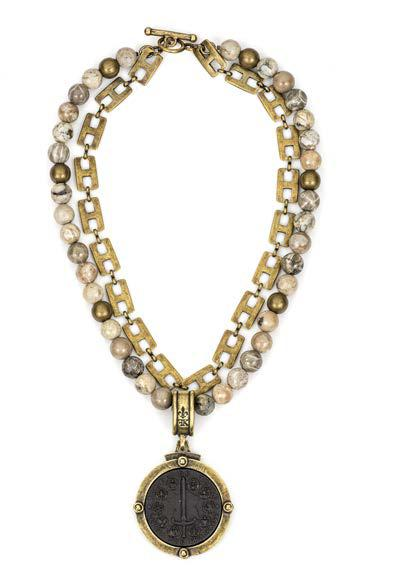 French Kande Double Strand Du Terre Medallion with Henri Chain Necklace in Cafe Au Lait Mix
