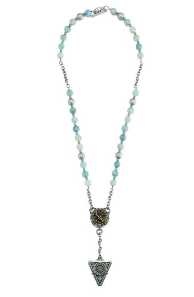 French Kande  Aquamarine &  Chain De La Ville Medallion Necklace 26""