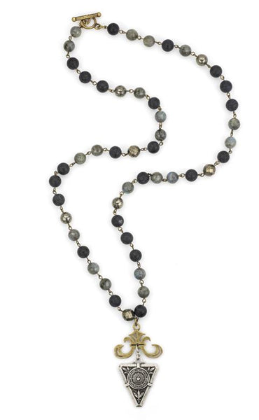 French Kande Midnight Mix De La Ville Medallion with Grand Fleur Necklace 32""