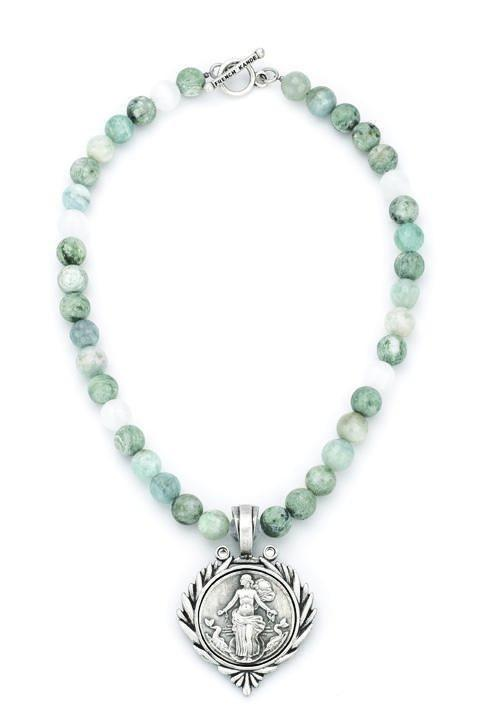 French Kande Le Havre Medallion  Necklace in Seaside Mix