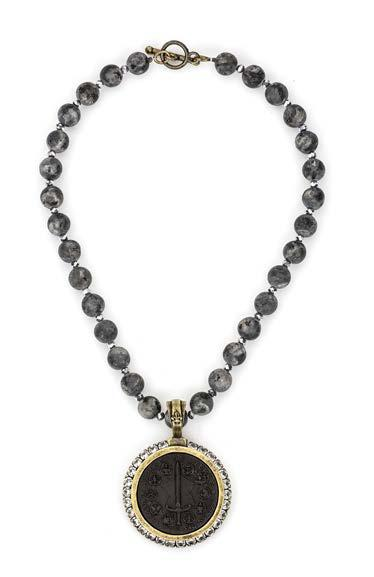 French Kande SANDBLAST BLACK LABRADORITE AND SILVER CRYSTAL WITH BLACK DU TERRE MEDALLION NECKLACE