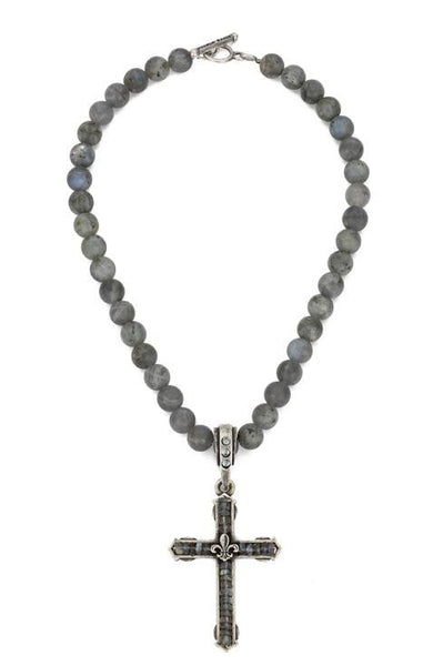 French Kande Fleur de Lis Cross Channel Necklace in Labradorite