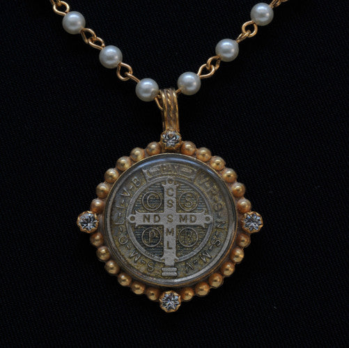 San Benito Magdalena Necklace Pearl & Gold by Virgins Saints and Angels