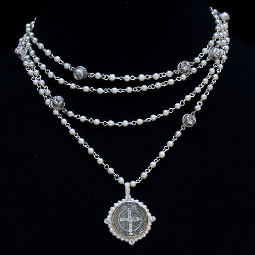 Virgins Saints & Angel Pearl San Benito Necklace in Silver
