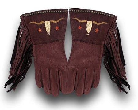Chocolate Longhorn Fringed Gloves by Patricia Wolf