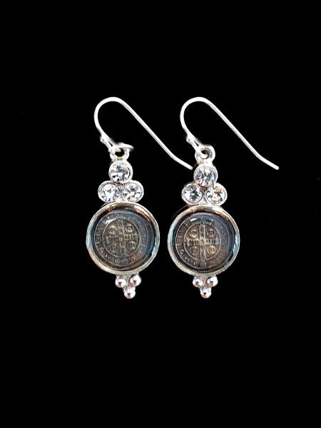 San Benito Lucia Earrings in Clear Crystal & Silver by Virgins Saints & Angels