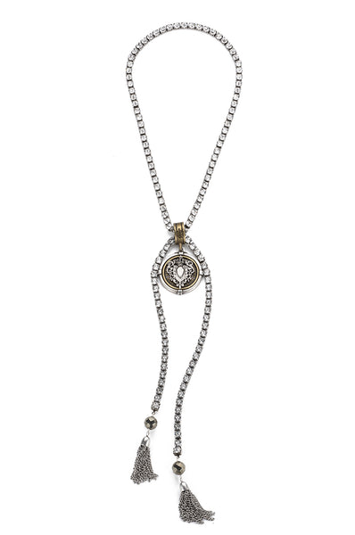 French Kande Centennial Heart Medallion Swarovkski Lariat Necklace