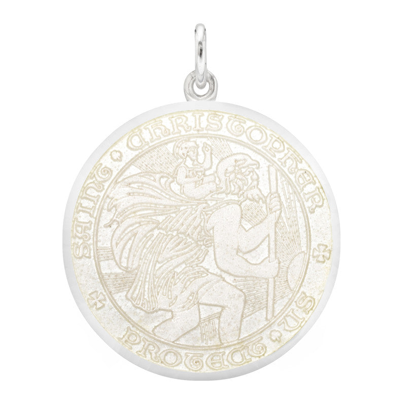 "Whispering Cowgirl Sterling Silver Saint Christopher Medal Necklace Small Rectangle on 18"" Chain"