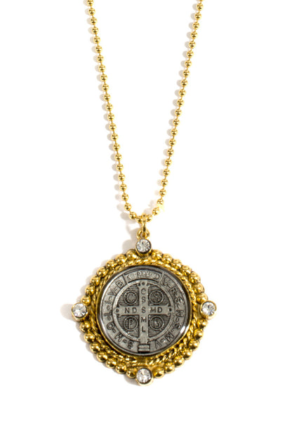 Virgins Saints and Angels San Benito Charm Necklace Clear and Gold