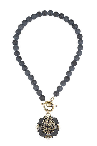 French Kande Black Jasper Merit Cross Stack Medallion in Matte Black
