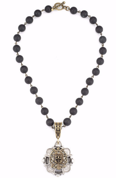 French Kande Black Jasper Merit Cross Stack Medallion