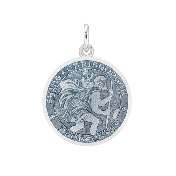 "Whispering Cowgirl Sterling Silver Saint Christopher Medal Necklace Small 18"" Chain"