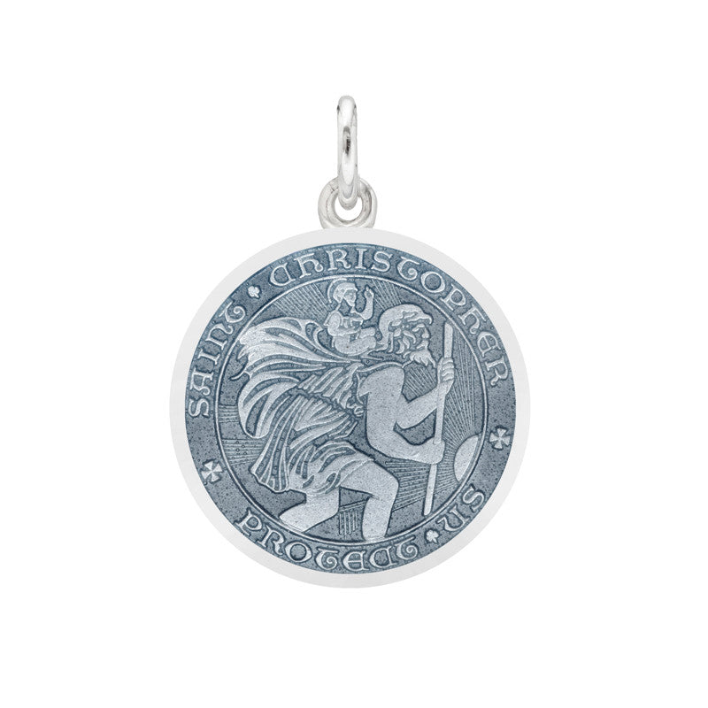 Whispering Cowgirl Sterling Silver Baby Pin Pendant with Saint Christopher