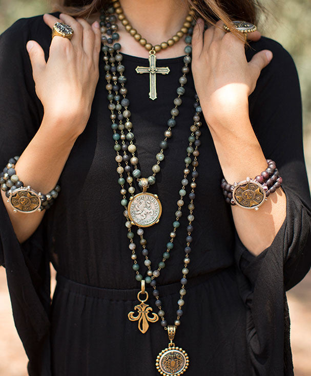 French Kande Fleur de Lis Cross Channel Necklace in Black Jasper