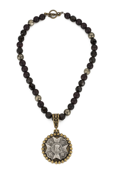 French Kande Garnet Mix St. Benedict Bravoure Medallion Necklace