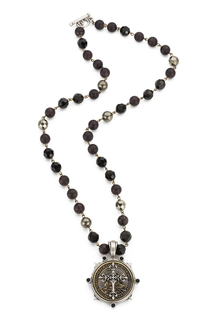 French Kande Pineau Cross Medallion Garnet Mix Necklace 28""