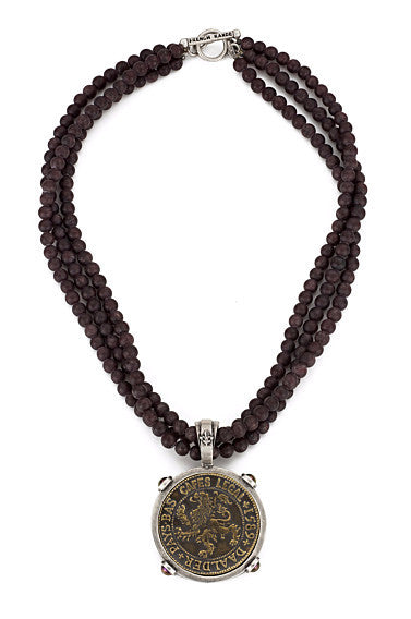 French Kande Triple Strand Garnet Necklace with Daadler Medallion Necklace