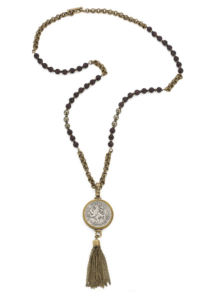 French Kande Daadler Medallion Garnet Mix Necklace 38""