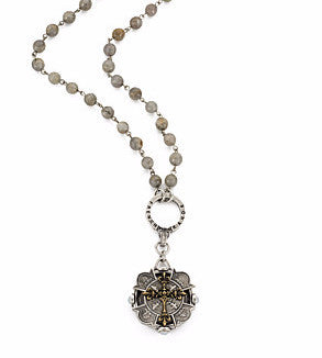 French Kande Labradorite Extra Long Merit Cross Medallion Necklace 38""