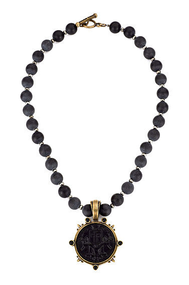 French Kande Black Jasper and Pyrite with Indochine Medallion