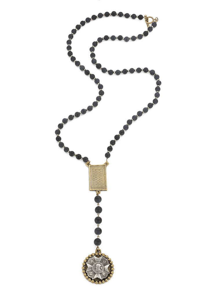 French Kande Rouen Saint Benedict Bravoure Rosary Inspired Black Jasper and Pyrite Necklace 35""