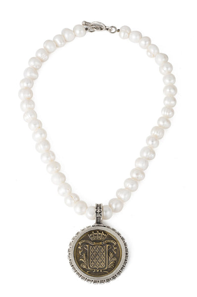 French Kande Mont Joy Medallion Freshwater Pearl with Swarovski Necklace